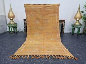"Moroccan Handmade Cactus Silk  3'5""x6'3"" Sabra Berber Geometric Faded Orange Rug"