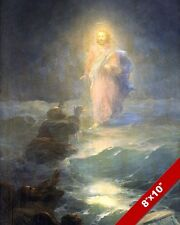 APOSTLE PETER SINKING BEFORE JESUS SEASCAPE PAINTING BIBLE ART REAL CANVAS PRINT