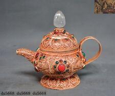 """5"""" Rare Tibetan silver 24k gold Gilt Inlay crystal gem Teapot Teacup Tea set Cup"""