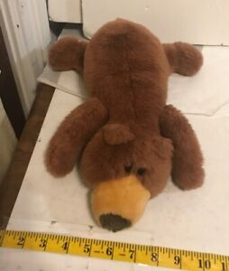 Vintage 1999 Liberty Toy BROWN BEAR cub laying down Stuffed Animal Plush