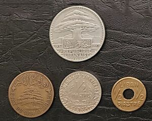 LEBANON:-French protectorate, & WWII emergency, 4 coins, dated 1929-36.  C009