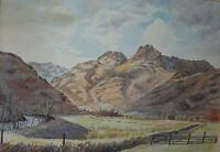 Langdale Pikes English Lake District Donald E Mann Watercolour Painting c1980s