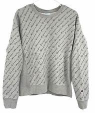 New listing Champion Reverse Weave Women Crewneck Sweatshirt Logo All Over Script Print sz L