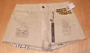 Forever 21 Khaki/Gold Distressed High Rise Shorts RN#94981 Size 27 New W/ Tags