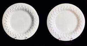 "RARE 2 MACKENZIE CHILDS THISTLE WHITE 11.75"" HEAVY DINNER PLATES"