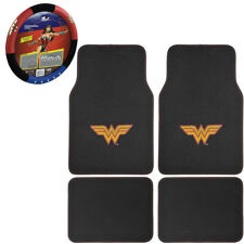 New DC Comic Wonder Woman Car Truck Carpet Floor Mats & Steering Wheel Cover