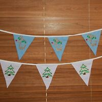 Christmas Bunting Banner Garland Hanging Decoration Embroidered Fabric Tree
