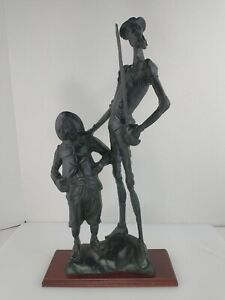 """18.5"""" Tall Resin Don Quixote & Sancho Panza Statue  with a wooden base"""
