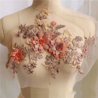 3D Embroidery Lace Flower Bridal Applique Pearl Beaded Tulle DIY Wedding Dress
