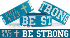 Be Strong Philippians Phil 4:13 Wristband Bracelet Bible Scripture Teal Band