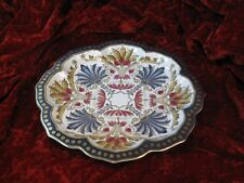 Porcelain FAIENCE MAJOLICA STYLE Platter Gold Leafs