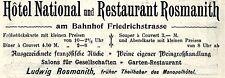 Ludwig Rosmanith Berlin HOTEL NATIONAL  Historische Reklame von 1896