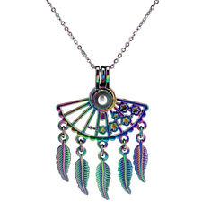 Star Beads Cage  00004000 Locket Pendant Chain C1088 Rainbow Color Fan Shaped Bohemian