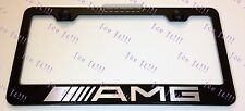 """Mercedes"" AMG Stainless Steel Black License Plate Frame Rust Free W/ Caps"