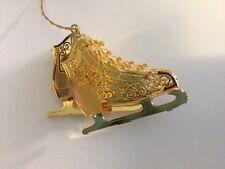 2000 Danbury Mint Gold Christmas Ornament Festive Ice Skates