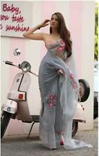 New Saree Indian Bollywood Pure organza Digital Floral Print Party Wear Net Sari