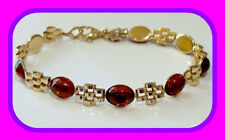 GENUINE SOLID 9CT GOLD CABOCHON BALTIC AMBER PANTHER LINK ENGLISH BRACELET HM