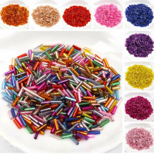 600Pcs/lot 2x6mm Long Glass Bugle Tube Spacer Beads for DIY Jewelry Making#