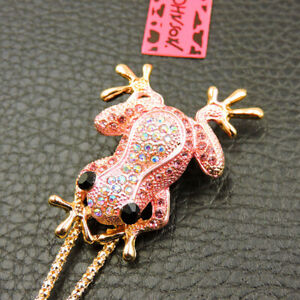 New Betsey Johnson Pink Cute Frog Crystal Animal Pendant Chain Necklace/Brooch