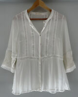 STEVIE MAY boho Lace Trim Button Front Blouse Shirt Top L 10-12