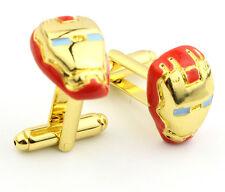 Marvel Avengers Red/Gold Colour Iron Man Cufflinks in Black Velvet Gift Pouch