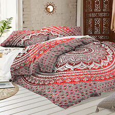 Red Ombre Mandala Indian Duvet Cover Hippie Bohemian Blanket CoverQueen Quilt