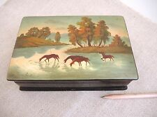Russian Painted Lacquer Box Wild Horses River Landscape Painting Signed Vintage