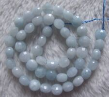 8mm Natural Light Blue Aquamarine Faceted Coin Loose Beads 15Inchs