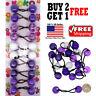 Purple White Braid Girls Scrunchie Jumbo Beads Hair Tie Ball Ponytail Holder