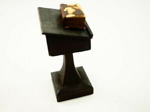 Antique Miniature Oak Lectern With Its Micro Leather Bound Bible