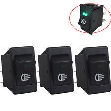 3 X 12V Car Fog Light Rocker Toggle Switch Green LED Light Dash Dashboard Sales