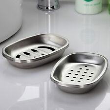 2 x Stainless Steel Soap Dish Bar Bath Soap Holder Bathroom Storage