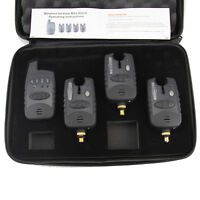 FREE SHIP 4 Pc/Set Wireless Bite Alarms & Receiver Run LED 3+1 Bite Alarm