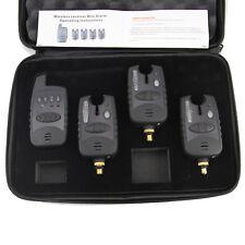 FREE-SHIP NEW 4 Pcs Wireless Bite Alarms & Receiver. Run LED 3+1 Bite Alarm Set