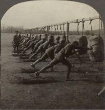 """Class of Officers Practicing """"The Short Point Stab"""". U.S. Army Camp - Stereoview"""