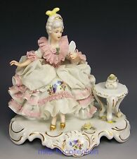 LOVELY DRESDEN HAND PAINTED FULL LACE LADY WITH MIRROR FIGURINE