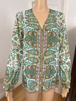 Johnny Was Floral Sz Xs 100% Silk Button Down Long Sleeve Semi Sheer Blouse