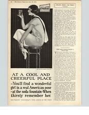 1925 Paper Ad Coca-Cola  Woman Sitting on Soda Fountain Stool