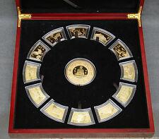 Chinese Lunar Calendar 24-kt Gold-Plated Medallion Set