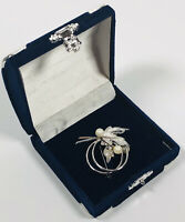 Vintage Brooch Silver Tone Faux Pearl Floral Spray Cute Kitsch Costume Jewellery