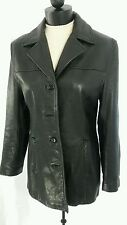 WILSONS LEATHER Women M Black Notch Collar Leather Jacket With Welt Pockets