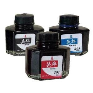 60ml Hero 234 Carbon Fountain Pen Writing Ink Refill 2020 O9M8 Glass Black C4F3