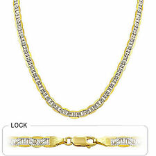 "6.4mm 22"" 27.50gm 14k Gold Two Tone Men's White Pave Flat Mariner Chain Necklace"