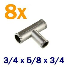 "8x 5/8"" 3/4"" METAL T-Piece Tee Barbed Hose Connector Fitting -Water Coolant LPG"