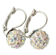 SHAMBALLA AB CRYSTAL BALL LEVER BACK HOOP EARRINGS 12MM