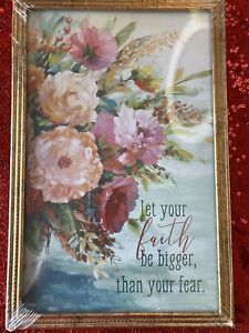 """Floral Inspirational """"Let Your Faith Be Bigger Than Your Fear"""" Art Wall Decor"""