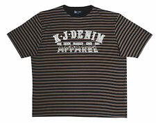 Men's KAM T-Shirt - Black/Brown Stripes - Size 4XL. Plus Size Tee Shirt from UK