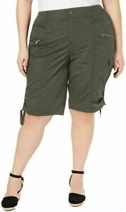 Style Co Womens Size 24W Olive Green High Rise Cargo Bermuda Shorts