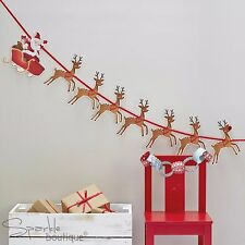 SANTA SLEIGH & REINDEER BUNTING - Father Xmas/Rudolph/Garland/Hanging Decoration