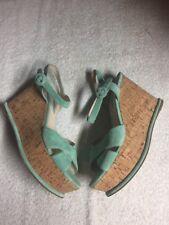 Prada Milano Women's Mint Green Suede Leather Cork Wedge Heels Shoes 39 US 8 B